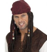 Pirate Man Wig & Bandana - Black (42078)